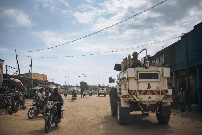 United Nations (UN) South African peacekeepers patrol a street in Oicha where an attack took place in a nearby village the day before, in Oicha, on January 29, 2020. Credit: AFP Photo