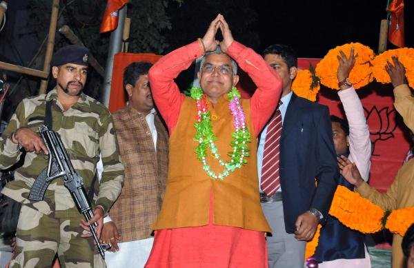 Dilip Ghosh gestures towards party activists during a felicitation programme. (PTI Photo)