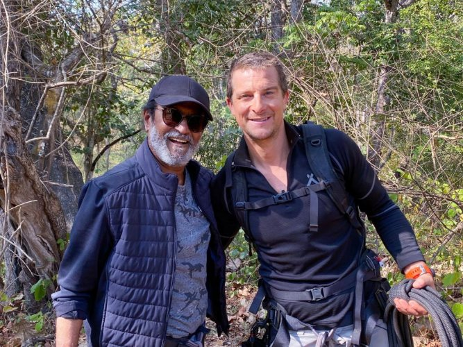 Survival instructor - TV presenter Bear Grylls shared his picture with actor Rajinikanth at Bandipur on his Twitter account.