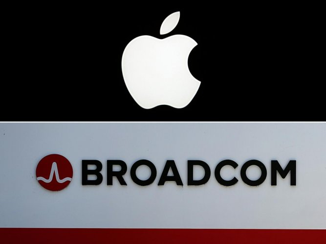 This combination of pictures created on January 29, 2020 shows a picture taken on January 27, 2010 in Paris showing the Apple logo, and signage is displayed outside the Broadcom offices on June 7, 2018 in San Jose, California. (AFP Photo)