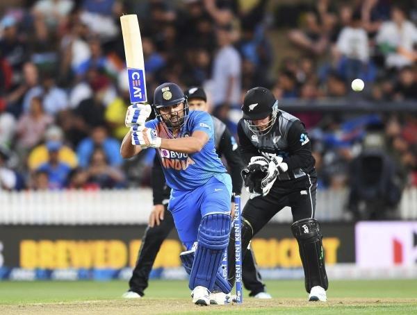 India's Rohit Sharma bats during the Twenty/20 cricket international between India and New Zealand in Hamilton, New Zealand, Wednesday, Jan. 29, 2020. (PTI Photo)