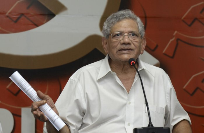"""""""The best tribute to Mahatma Gandhi on Martyrs Day is to pledge once again to defeat the majoritarian forces in India that are still trying to kill his ideas,"""" Yechury tweeted. Credit: PTI Photo"""