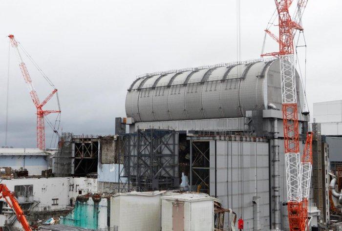 The top of the damaged No.3 reactor building is seen at tsunami-crippled Fukushima Daiichi nuclear power plant in Okuma town, Fukushima prefecture, Japan