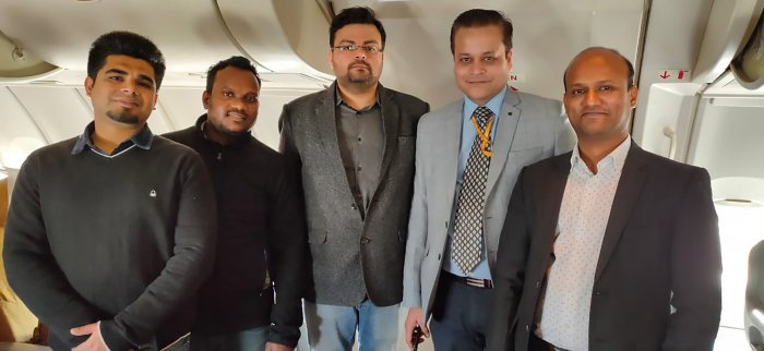 Five doctors of RML hospital inside a B747 aircraft of the Air India at the IGI Airport before its departure for coronavirus-hit city of Wuhan in China to bring back Indians, in New Delhi, Friday, Jan. 31, 2020. (Credit: PTI Photo)