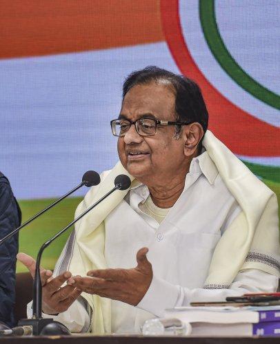 Senior Congress leader and former finance minister P Chidambaram addresses a press conference on the Union Budget 2020-21, at AICC headquarters in New Delhi, Saturday, Feb. 1, 2020. (Credit: PTI Photo)