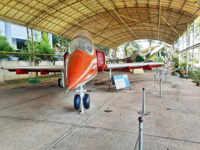 A hall exhibit with a trainer aircraft at HAL Aerospace Museum