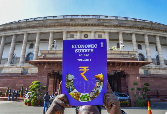 of the first volume of Economic Survey 2019-20 which was tabled in Parliament on the first day of the Budget Session, in New Delhi, Friday, Jan. 31, 2020. (Credit: PTI Photo)
