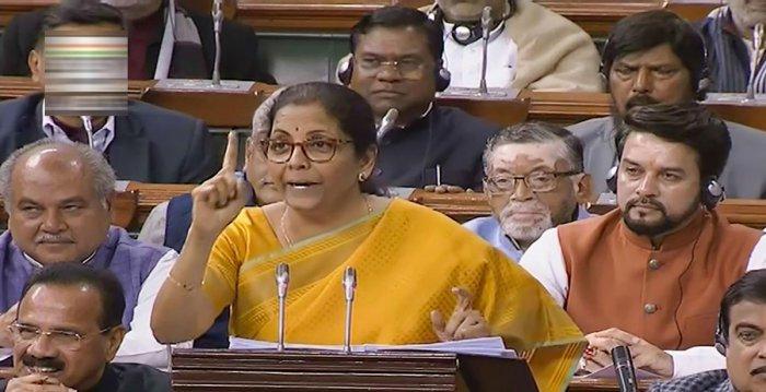 Finance Minister Nirmala Sitharaman presents the Union Budget 2020-21 in the Lok Sabha, in New Delhi, Saturday, Feb. 1, 2020. (PTI Photo)