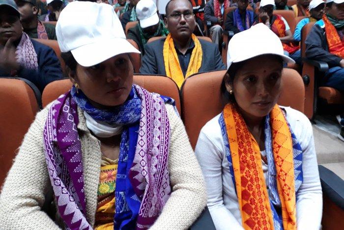 B Binai and B Ansuli, two women cadres of NDFB, an insurgent group in Assam, in Guwahati on January 30. (Photos by Sumir Karmakar, Guwahati)