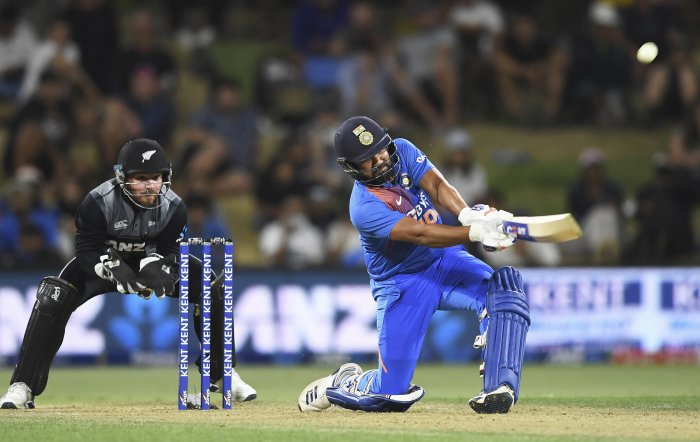 India's Rohit Sharma during the Twenty/20 cricket international between India and New Zealand at Bay Oval in Mt Maunganui, New Zealand. (PTI Photo)