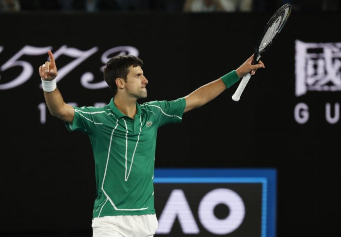 Novak Djokovic celebrates winning his match against Austria's Dominic Thiem. REUTERS
