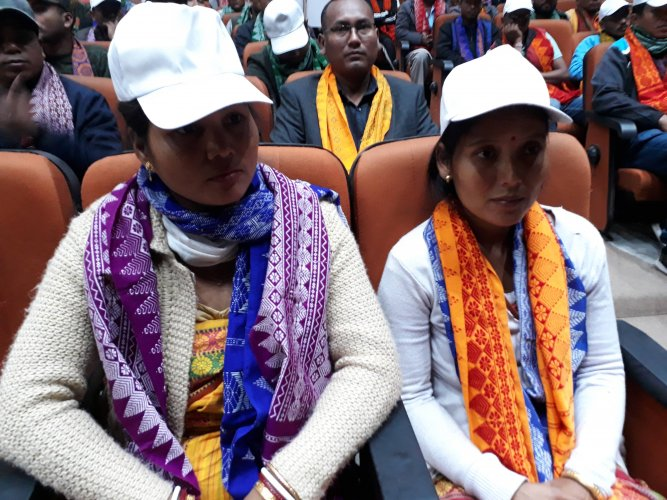 B. Binai and B. Ansuli, two women cadres of NDFB, an insurgent group in Assam, in Guwahati on January 30. (Credit: DH Photo)