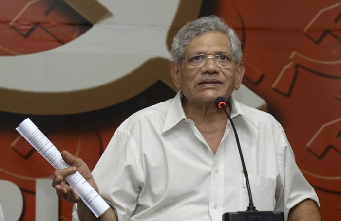 CPI (M) General Secretary Sitaram Yechury during a press conference at the state party office, in Thiruvananthapuram. (PTI Photo)