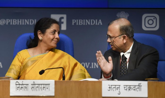 Union Finance Minister Nirmala Sitharaman with Economic Affairs Secretary Atanu Chakraborty (R) during the post-budget press conference in New Delhi, Saturday, Feb. 1, 2020. Sitharaman presented the Union Budget 2020-21 in the Lok Sabha today. (PTI Photo)