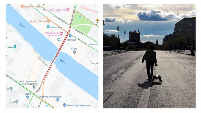 Weckert put 99 phones with Google Maps navigation turned on in a cart and he walked along the empty streets of Berlin. (Photo: Simon Weckert website)