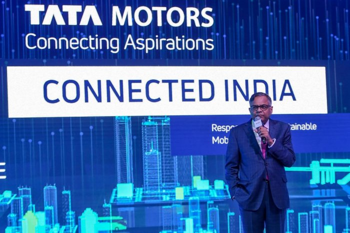 Chairman of Tata Sons and Tata Motors, Natarajan Chandrasekaran, speaks during the Auto Expo 2020 at Greater Noida on the outskirts of New Delhi on February 5, 2020. (Photo by Money SHARMA / AFP)
