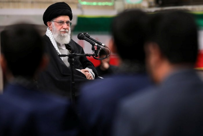 Iran's Supreme Leader Ayatollah Ali Khamenei attends a public gathering ahead of the 41st anniversary of the Islamic revolution, in Tehran. (Reuters Photo)