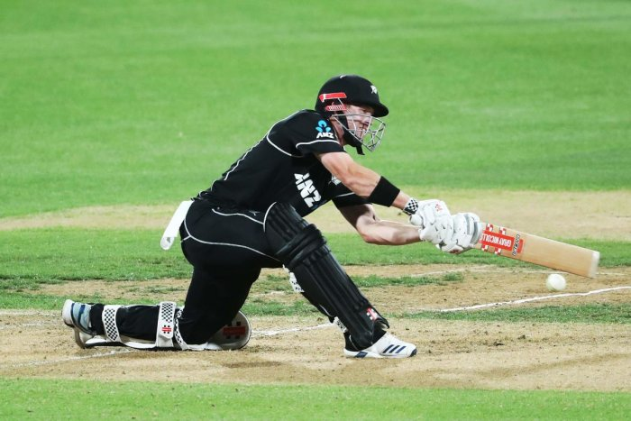 New Zealand's Henry Nicholls bats during the third one-day international cricket match between New Zealand and India