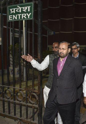 BJP delegation led by Union Minister Prakash Javadekar. (PTI Photo)
