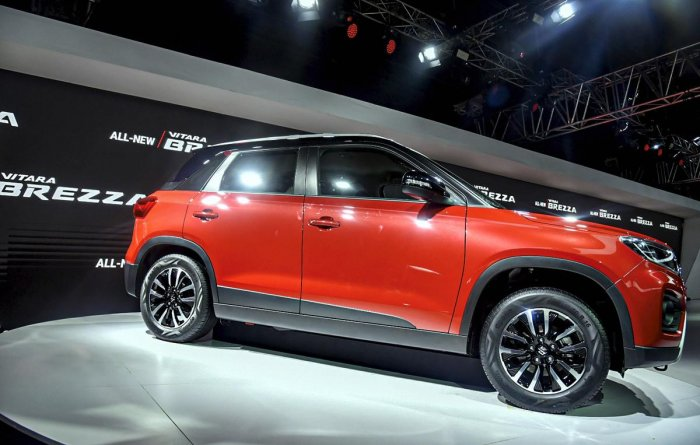 Maruti Suzuki newly launched Vitara Brezza displayed at the Auto Expo 2020, in Greater Noida