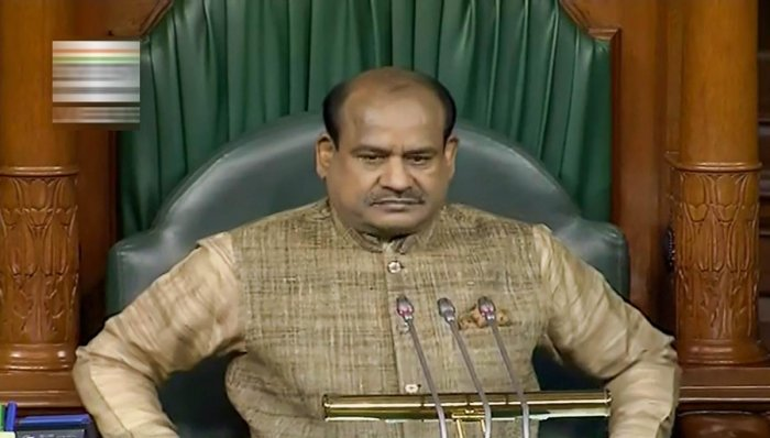 Speaker Om Birla conducts proceedings in the Lok Sabha during the Budget Session of Parliament. PTI