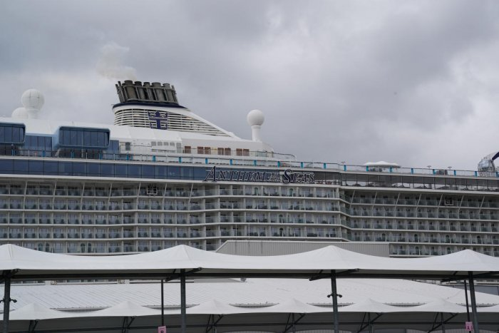 The Royal Caribbean cruise ship Anthem of the Seas is docked after passengers were removed with possible coronavirus symptoms at the port of Bayonne, New Jersey