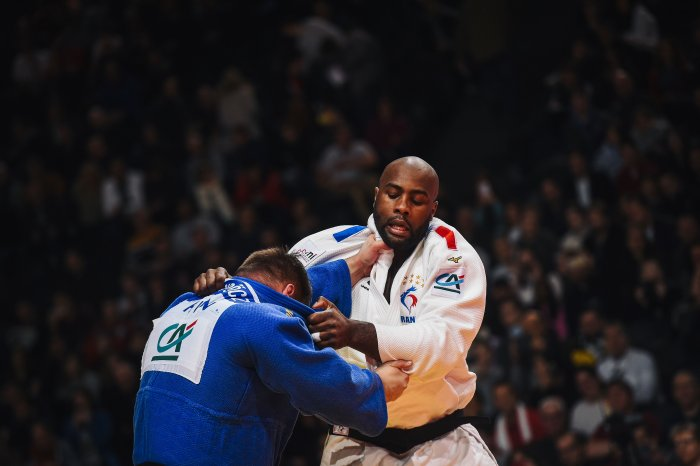 France's Teddy Riner fights against Hungarian Richard Sipocz during a men's over 100 kg category fight at the Judo Paris Grand Slam 2020, in Paris. (AFP Photo)