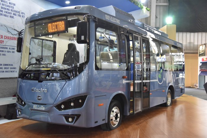 Olectra K6.LUXe electric bus at the inauguration of busworld India Bengaluru 8th edition of b2b organised by busworld at BIEC in Bengaluru. (DH Photo)
