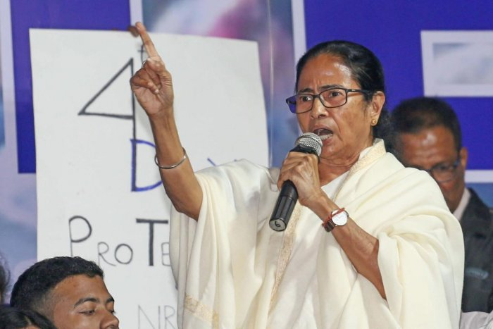 West Bengal Chief Minister Mamata Banerjee speaks during a march against CAA,NRC and NPR, in Kolkata, Monday, Jan. 13, 2020. (PTI Photo)