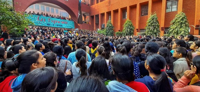 Students stage a protest against the alleged molestation of students by a group of men who had gatecrashed a cultural festival, at Gargi College, in New Delhi, Monday, Feb. 10, 2020. (PTI Photo)
