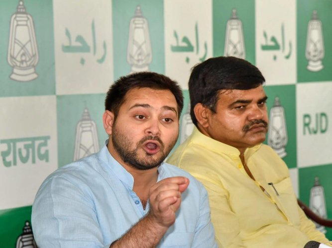 """Leader of the Opposition in the Assembly and former Deputy Chief Minister Tejashwi Yadav tweeted in Hindi: """"Why the BJP was hell-bent upon ending reservation system?"""" Credit: PTI image"""