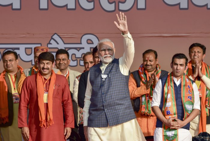 Prime Minister Narendra Modi during Vijay Sankalp Rally in support of East Delhi candidates ahead of the upcoming Delhi Assembly polls. (PTI Photo)