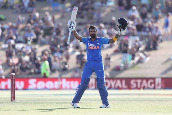 KL Rahul celebrates his century during the third ODI. (AFP Photo)