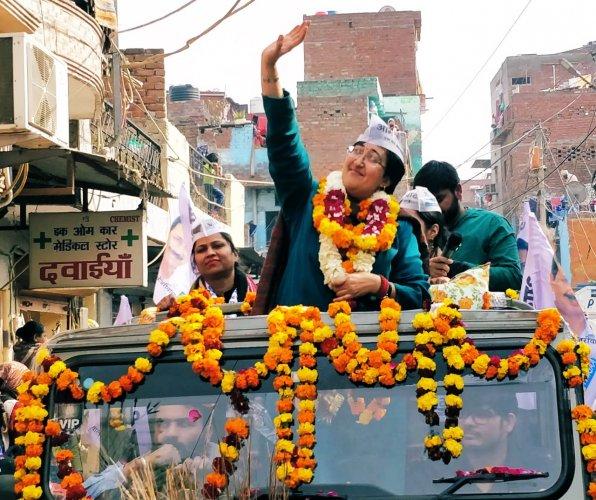 The Oxford graduate beat BJP's DharambirSingh from the Kalkaji constituency. Credit: Twitter (@AtishiAAP)