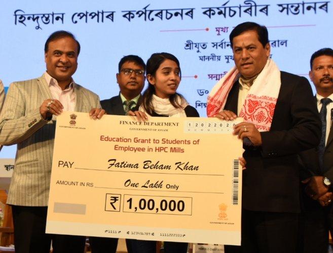 Assam education minister Himanta Biswa Sarma and CM Sarbananda Sonowal in Guwahati on Wednesday. (Photo credit: Assam govt.)