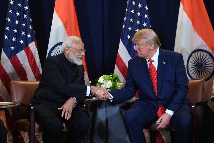 US President Donald Trump and Indian Prime Minister Narendra Modi. (AFP Photo)