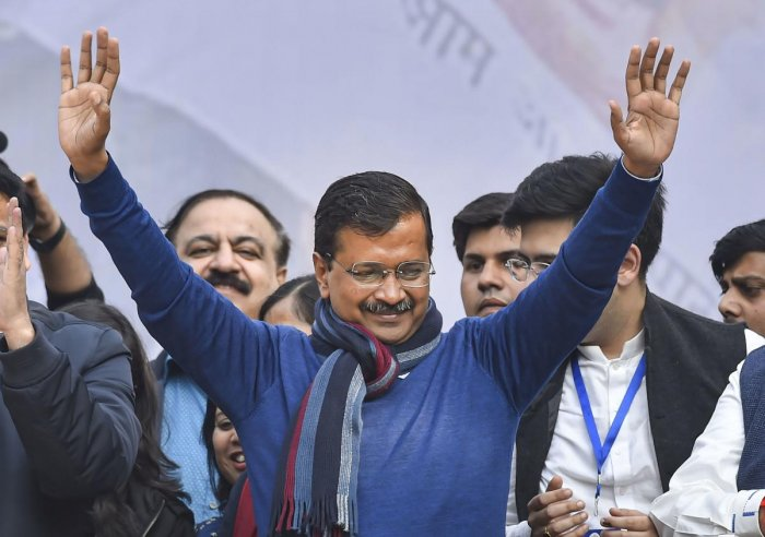 Delhi CM and AAP convenor Arvind Kejriwal addreses supporters after party's victory in the State Assembly polls, at AAP office in New Delhi, Tuesday, Feb. 11, 2020. (PTI Photo)