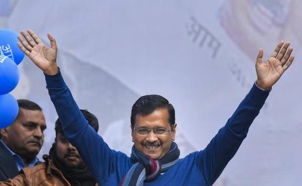 Delhi CM and AAP convenor Arvind Kejriwal during his address to supporters after party's victory in the State Assembly polls, at AAP office in New Delhi, Tuesday, Feb. 11, 2020. (PTI Photo/Ravi Choudhary)