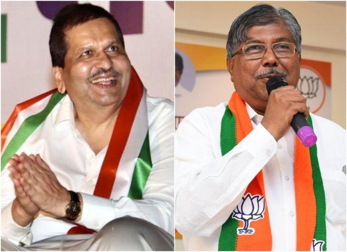 Mumbai BJP PresidentMangal Prabhat Lodha andMaharashtra BJP PresidentChandrakant Patil.