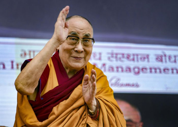 """Referring to the Happiness Curriculum for government schools in Delhi, the Dalai Lama said he has a deep admiration for the efforts the AAP government has made towards """"shaping better, happier human beings with improved values"""". Credit: PTI Photo"""