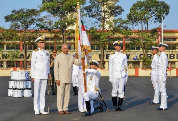 President Ram Nath Kovind presents 'President's Colour' to the INS Shivaji at a ceremony, in Lonavala, Thursday, Feb. 13, 2020. (PTI Photo)