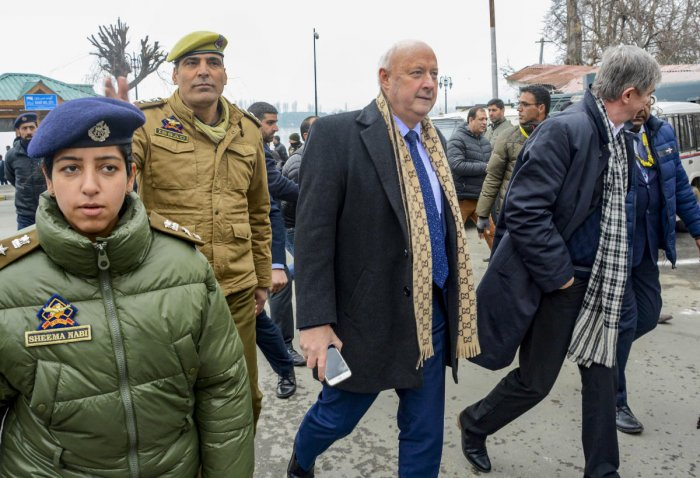 Members of 25 European Union Parlimentarian delegation walk on the banks of Dal Lake, in Srinagar, Wednesday, Feb. 12, 2020.  Credit: PTI Photo