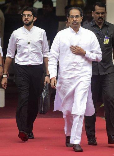 Maharashtra CM Uddhav Thackeray along with his son and minister Aaditya Thackeray (PTI Photo)