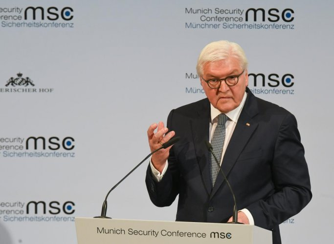 German President Frank-Walter Steinmeier addresses the opening speech of the 56th Munich Security Conference (MSC) in Munich, southern Germany, on February 14, 2020. AFP