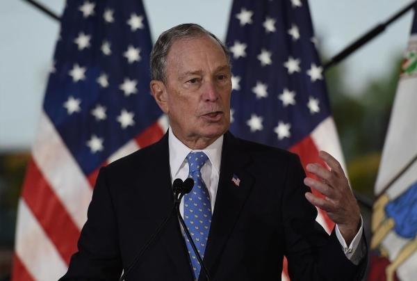 In this file photo taken on December 13, 2019 former New York Mayor and Democratic presidential candidate Michael Bloomberg speaks about his plan for clean energy during a campaign event at the Blackwall Hitch restaurant in Alexandria, Virginia. (AFP Photo)
