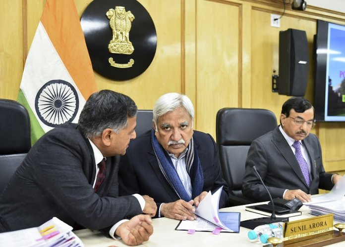 Chief Election Commissioner (CEC) Sunil Arora holds a special meeting to review Delhi's poll preparedness at the Election Commission office. (PTI Photo)