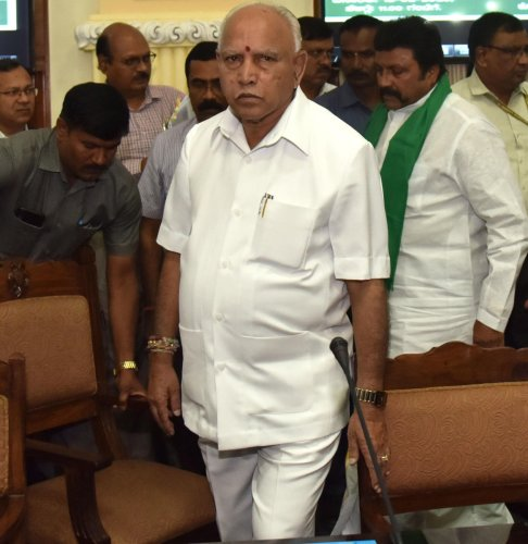 Chief Minister B S Yediyurappa and Agriculture Minister B C Patil at the Farmers meeting with Chief Minister at Vidhana Soudha in Bengaluru on Thursday, February 13, 2020. (DH Photo)