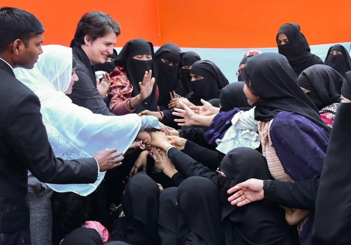 Congress General Secretary Priyanka Gandhi Vadra meets with Muslim women who have been agitating against the Citizenship Amendment Act (CAA) and National Register of Citizens (NRC), at Bilariyaganj in Azamgarh, Wednesday, Feb. 12, 2020. (PTI Photo)