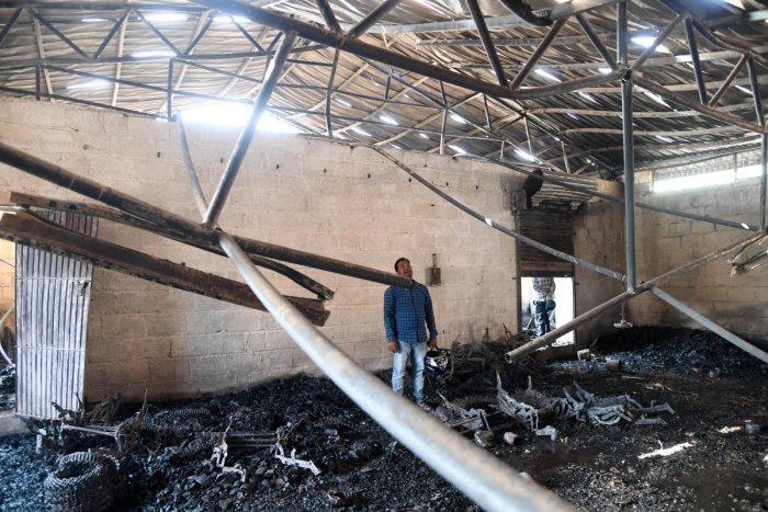 The Sri Ranga Furniture factory, Hegde Nagar, where a fire broke out early on Friday morning. DH PHOTO/B H SHIVAKUMAR