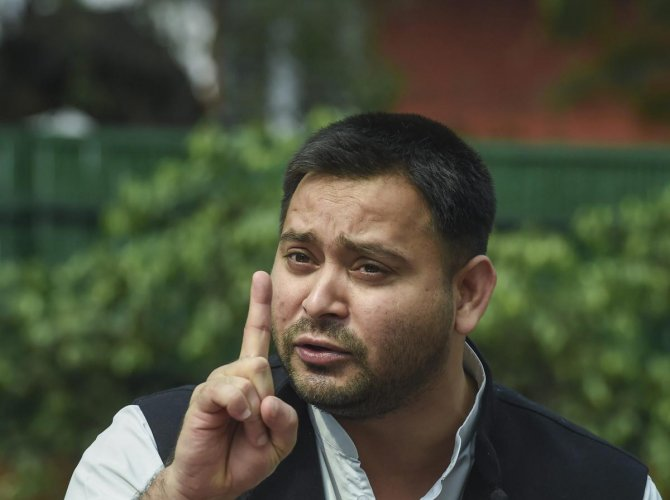 """RJD leader Tejashwi Yadav said the 'mahagathbandhan' (grand alliance) was ready to take on the National Democratic Alliance (NDA) against its """"divisive agenda and 15 years of misrule"""" in the assembly polls.Credit: PTI Photo"""